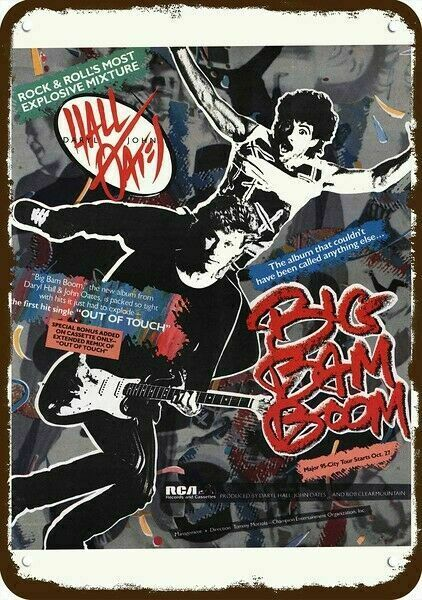 1984 HALL and OATES BIG BAM BOOM Concert Tour Vintage Look REPLICA METAL SIGN