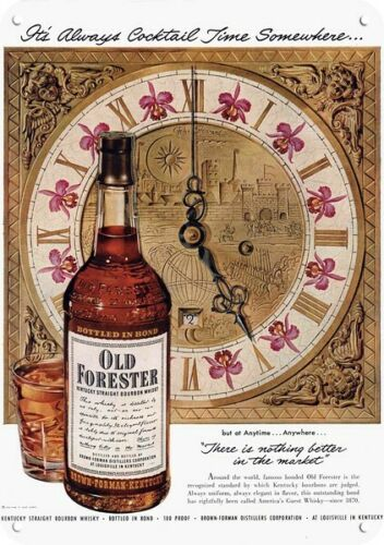 1951 OLD FORESTER WHISKY & JOHN HOWARD Clock Art *** REPLICA METAL SIGN ***