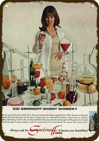 1965 SMIRNOFF VODKA Vintage Look REPLICA METAL SIGN - SMIRNOFF INVENT WOMEN?