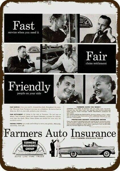 1959 FARMERS AUTO INSURANCE GROUP Vintage Look DECORATIVE REPLICA METAL SIGN