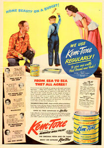 Large 1950 full-page ad for Kem-Tone Paint