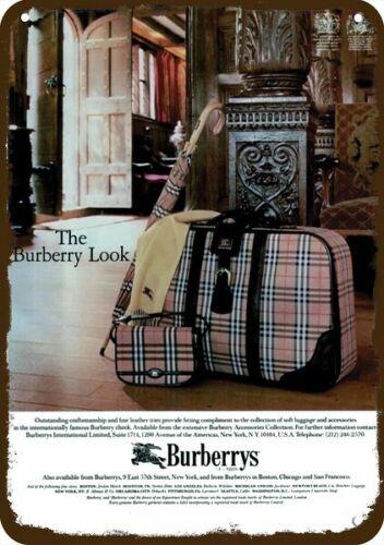 1984 BURBERRYS PINK PLAID LUGGAGE Vintage Look **** REPLICA METAL SIGN ****