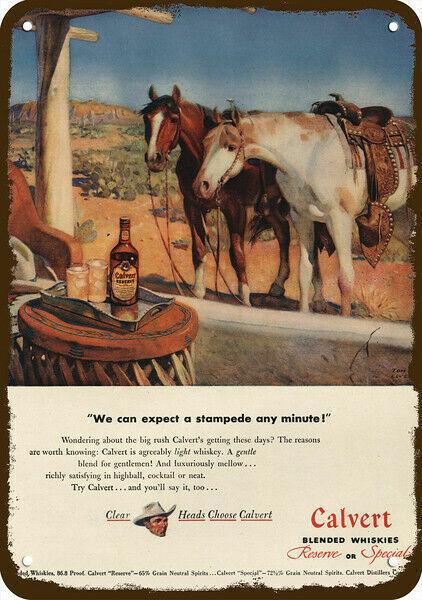 1947 CALVERT RESERVE WHISKEY Vintage Look DECORATIVE METAL SIGN - HORSE