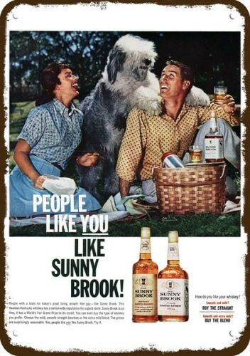 1962 SUNNY BROOK Whiskey Vintage Look REPLICA METAL SIGN - OLD ENGLISH SHEEPDOG