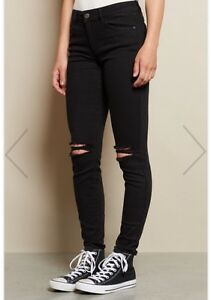 Black Jeans with rips in knees from Garage Clothing. Size 0 Peterborough Peterborough Area image 3