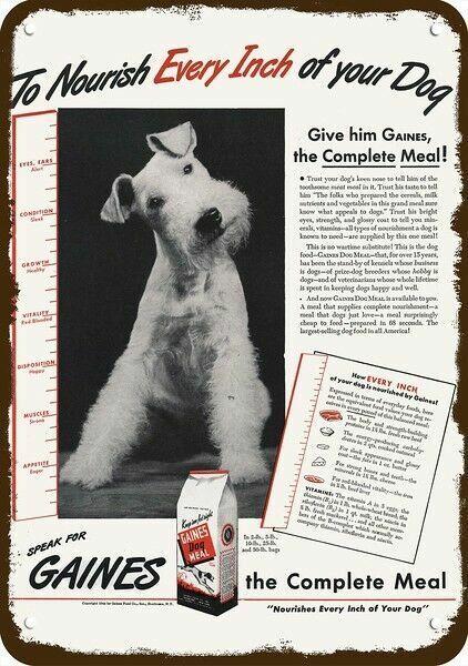 1944 GAINES DOG FOOD Vintage Look DECORATIVE METAL SIGN - WIRE HAIR FOX TERRIER
