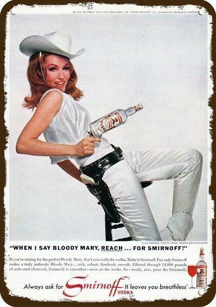 1966 SMIRNOFF Vintage Look REPLICA METAL SIGN - BATMAN - CAT WOMAN JULIE NEWMAR