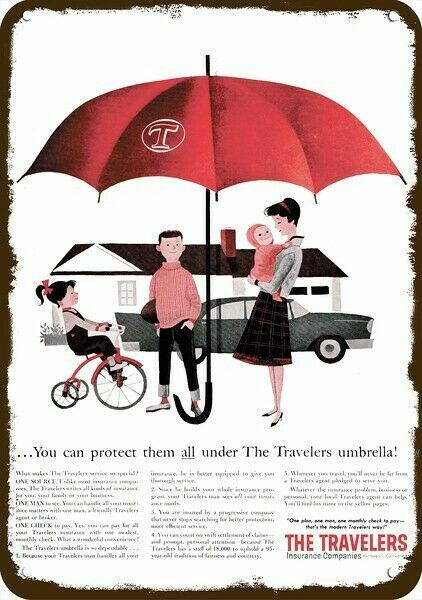 1960 TRAVELERS INSURANCE Vintage Look DECORATIVE METAL SIGN - FAMILY & RED UMBRE