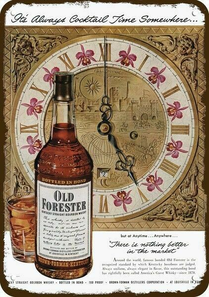 1951 OLD FORESTER WHISKY & JOHN HOWARD Clock Art Vintage Look REPLICA METAL SIGN
