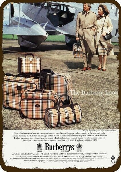 1983 BURBERRY TRENCHCOAT & LUGGAGE Vintage Look REPLICA METAL SIGN - BIGGIN HILL