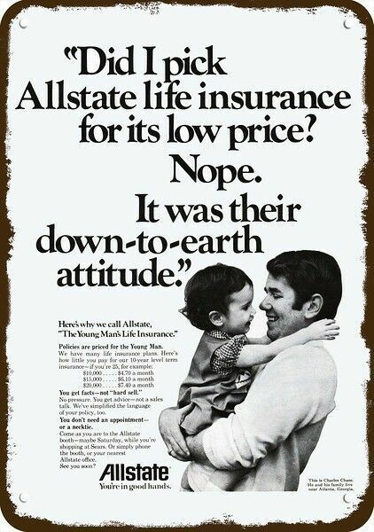 1974 ALLSTATE INSURANCE Charles Chase Vintage Look DECORATIVE REPLICA METAL SIGN
