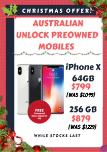 iPhone X - 64GB OR 256GB - XMAS SPECIAL SAVE $350