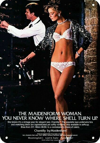 1982 SEXY WOMAN MAIDENFORM CHANTILLY LACE BRA & PANTIES REPLICA METAL SIGN