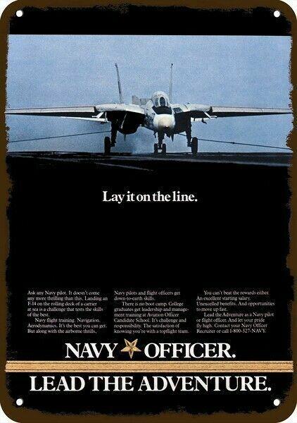 1986 U.S. NAVY GRUMMAN F-14 TOMCAT FIGHTER JET Vintage Look DECORATIVE METAL SIG
