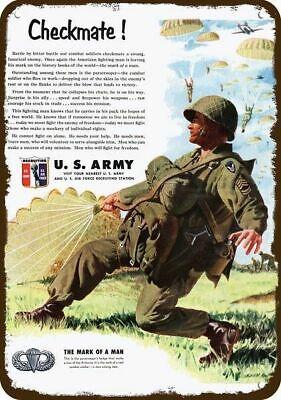 1951 U.S. ARMY AIRBORNE PARATROOPER & PARACHUTE Vintage Look DECORATIVE METAL SI