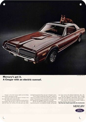 1968 MERCURY COUGAR XR 7-G Car w/ Electric Sunroof REPLICA METAL SIGN