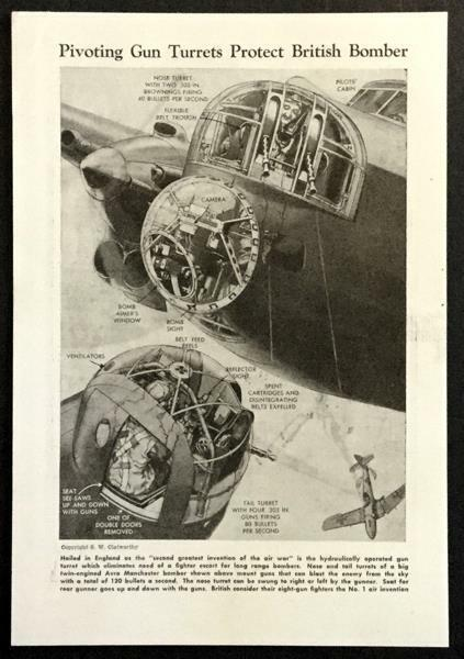 British Bomber Avro Manchester Gun Turrents 1943 graphic pictorial