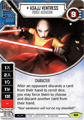 X1 Asajj Ventress - Force Assassin 9 Rare Star Wars Destiny Spirit Of Rebellion  - $1.60
