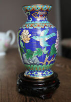 Chinese Cloisonne Floral & Bird Vase w Stand