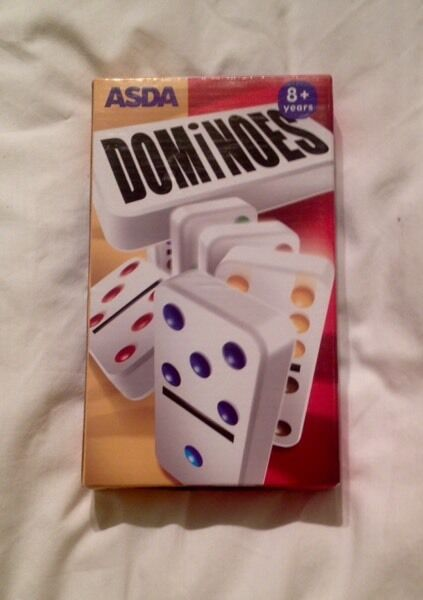 Asda White Dominoes With Coloured Dots. Unused In Packet. For Aged 8 And Above.