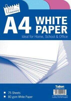 A4 Paper 75Sheets Bright White PRINTER COPIER Office Home Copy Printing 80 gsm