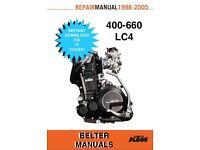 KTM 400-660 LC4 98-05 Engine Repair/Service/Workshop Manual