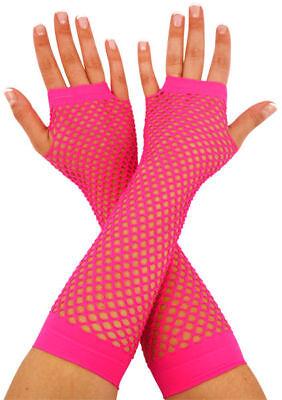 Lang Neon Pink Fischnetz Handschuhe - Fingerlos Kostüm Party Zubehör Spitze 70