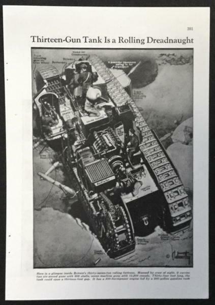 "British Tank Mark VIII 1940 pictorial ""13 Gun Tank is a Rolling Dreadnaught"""
