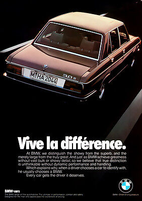 BMW E3 3.0 S RETRO A3 POSTER PRINT FROM CLASSIC 70'S ADVERT