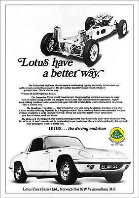 LOTUS ELAN RETRO A3 POSTER PRINT FROM CLASSIC 60'S ADVERT