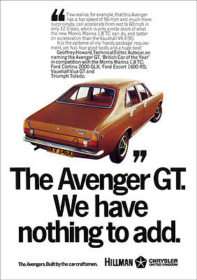 HILLMAN AVENGER RETRO A3 POSTER PRINT FROM CLASSIC 70's ADVERT