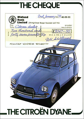 CITROEN DYANE 2CV RETRO A3 POSTER PRINT FROM CLASSIC 70's ADVERT