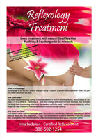 Reflexology treatment with Dead Sea lotion and essential oils