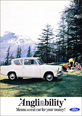 FORD ANGLIA RETRO A3 POSTER PRINT FROM 60's ADVERT
