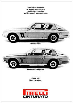 JENSEN INTERCEPTOR & FF V8 RETRO A3 POSTER PRINT FROM 60's ADVERT