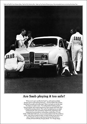 SAAB 96 V4 RETRO A3 POSTER PRINT FROM CLASSIC 60'S ADVERT