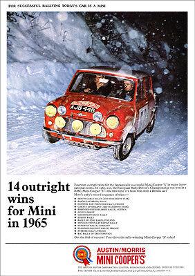 MINI COOPER S RALLY MONTE CARLO RETRO A3 POSTER PRINT FROM CLASSIC 1966 ADVERT