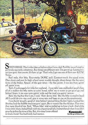 KAWASAKI KZ 750 TWIN MOTORCYCLE RETRO POSTER A3 PRINT FROM 70'S ADVERT
