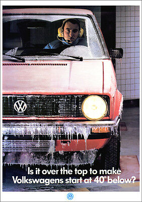 VW GOLF MK1 RETRO POSTER A3 PRINT FROM CLASSIC 80'S ADVERT