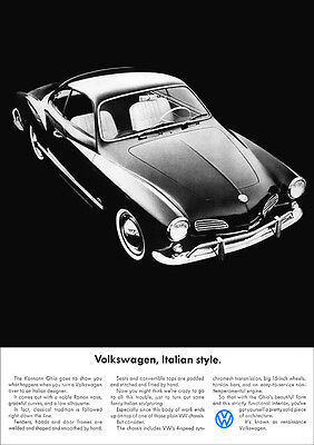 VW KARMANN GHIA COUPE TYPE 14 RETRO A3 POSTER PRINT FROM 60'S ADVERT