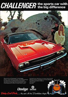 DODGE 70 CHALLENGER RT MOPAR RETRO A3 POSTER PRINT FROM ADVERT 1970