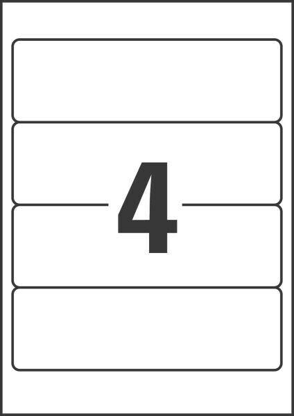 20x Etiketten Ordnerrücken  61 x 192 mm weiß selbstklebend kurz breit blickdicht