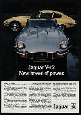 1973 JAGUAR E-Type V-12 Convertible & Hardtop Sports Car VINTAGE AD