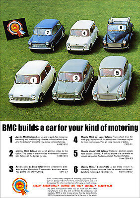MINI RANGE AND MORRIS MINOR CONVERTIBLE RETRO A3 POSTER PRINT FROM ADVERT 1965
