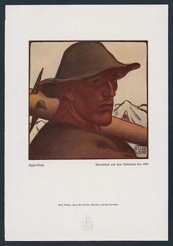 Albin Egger-Lienz Totentanz anno 1809 Studie Bauernkopf Volksaufstand Tirol 1922