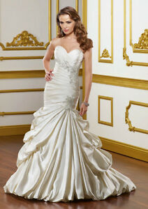 WEDDING BRIDAL GOWN - MERMAID - LUSTROUS SATIN WITH EMBROIDERY
