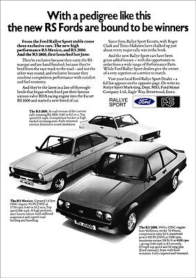 FORD ESCORT RS2000 RS1800 RS MEXICO RETRO A3 POSTER PRINT FROM 70's ADVERT