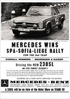 Mercedes 230sl Rally W113 Pagoda Retro A3 Poster Print From Classic 1963 Advert - mercedes-benz - ebay.co.uk