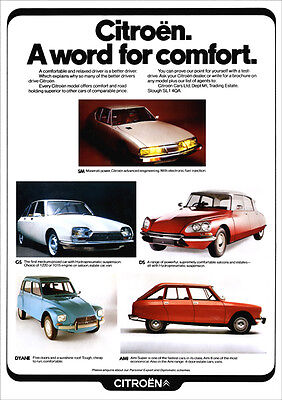 CITROEN DS SM AMI DYANE 2CV GS RETRO A3 POSTER PRINT FROM CLASSIC 70's ADVERT
