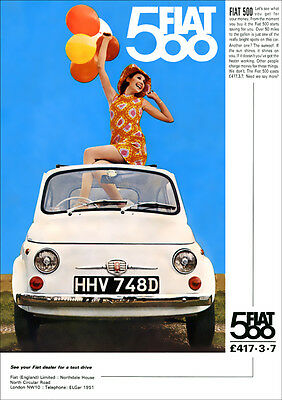 FIAT 500 RETRO A3 POSTER PRINT FROM CLASSIC 60'S ADVERT